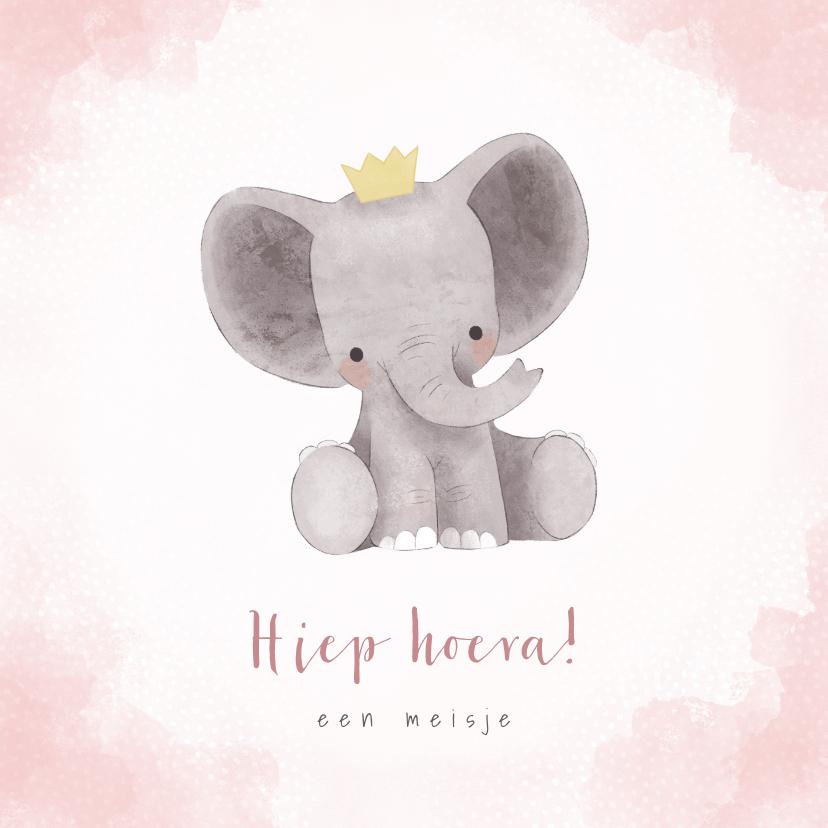Felicitatiekaarten - Lieve felicitatiekaart met olifantje, waterverf en stipjes