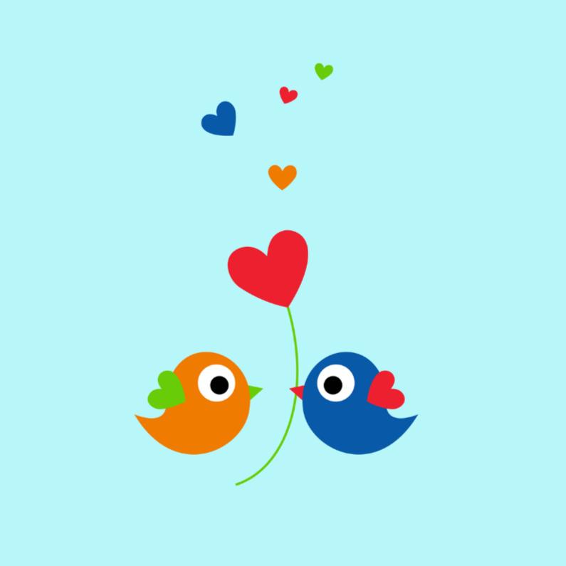 Felicitatiekaarten - Lieve kleurige vogeltjes
