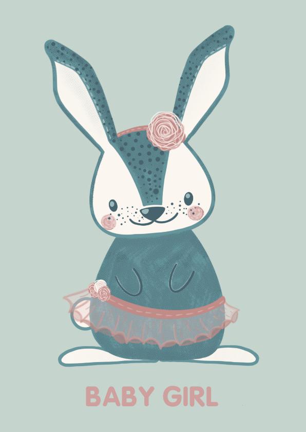 Felicitatiekaarten - Lieve mintgroene felicitatiekaart konijn in balletpakje