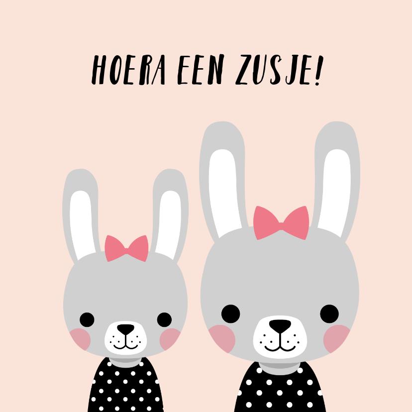 Felicitatiekaarten - Minimalistisch felicitatiekaartje met illustratie van konijn