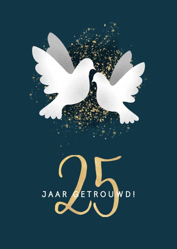 Felicitatiekaarten - Moderne felicitatiekaart jubileum '25' met duiven & spetters