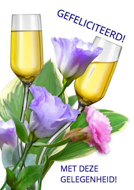 Felicitatiekaarten - Mooie felicitatiekaart met gebogen glazen tussen bloemen