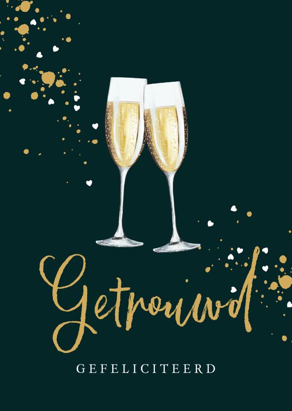 Felicitatiekaarten - Mooie kaart champagneglazen met spetters en hartjes