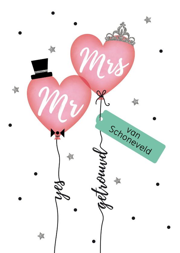 Felicitatiekaarten - Mr & Mrs getrouwd felicitatie kaart
