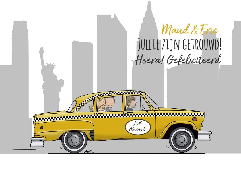 Felicitatiekaarten - New York taxi trouwkaart