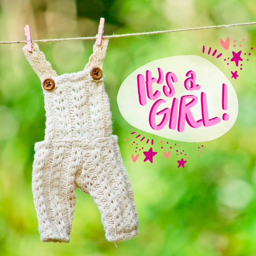 Felicitatiekaarten - Newborn baby kaart met een witte overall