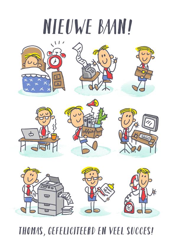 Felicitatiekaarten - Nieuwe baankaart met jongen op zijn werk in stripverhaaltje