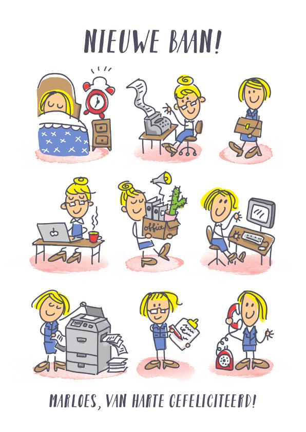 Felicitatiekaarten - Nieuwe baankaart met meisje op haar werk in stripverhaaltje