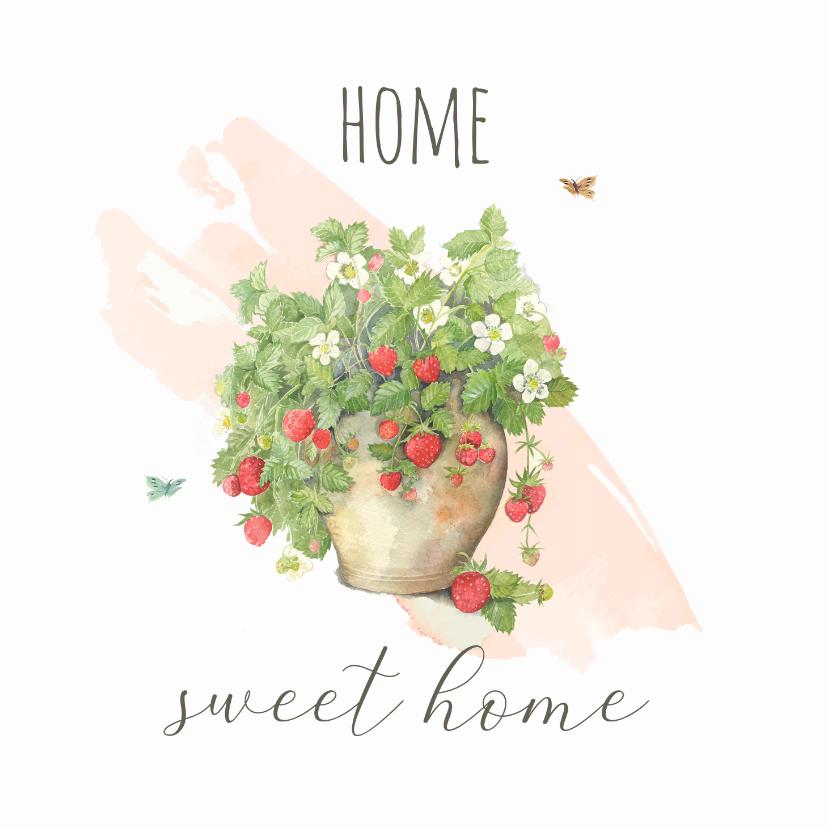 Felicitatiekaarten - Nieuwe woning - Aardbeienplant met watercolor