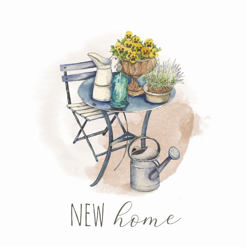 Felicitatiekaarten - Nieuwe woning - Zitje met gieter en watercolor