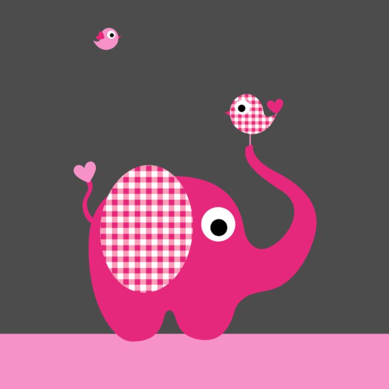 Felicitatiekaarten - Olifant, ruitjes, vogeltje, roze
