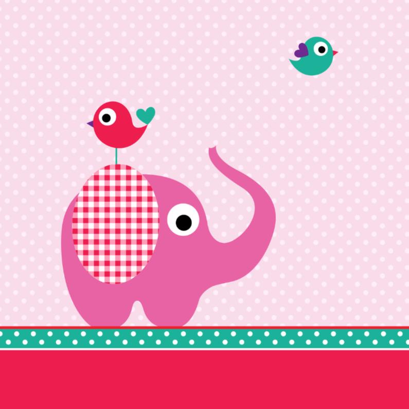 Felicitatiekaarten - Olifantje met stipjes, roze