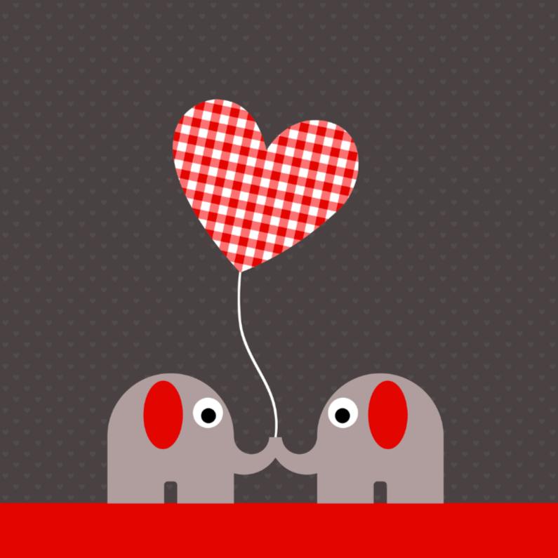 Felicitatiekaarten - Olifantjes met geruit hartjesballon