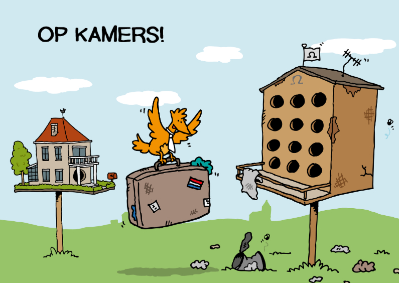 Felicitatiekaarten - Op kamers Vogelstudentenhuis