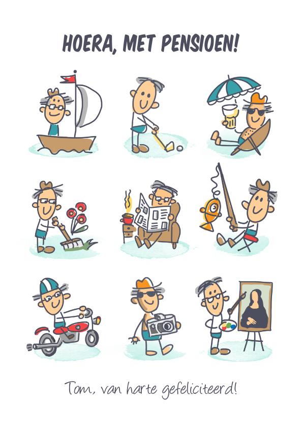 Felicitatiekaarten - Pensioenkaart met mannetje genietend van zijn pensioen