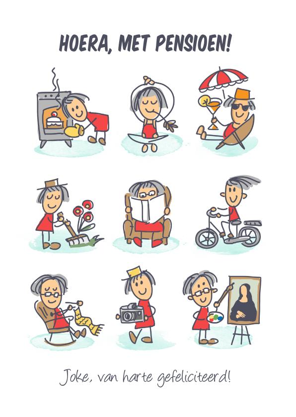 Felicitatiekaarten - Pensioenkaart met vrouw genietend van haar pensioen