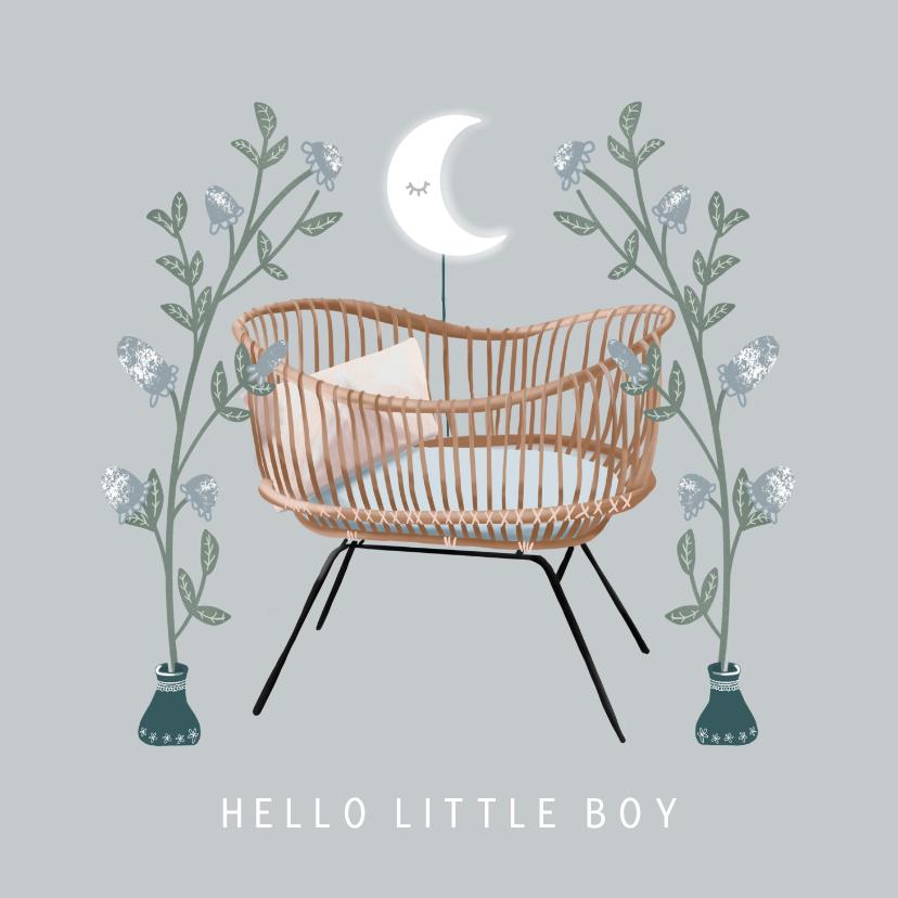 Felicitatiekaarten - Prachtige felicitatiekaart wieg en bloemen geboorte jongen