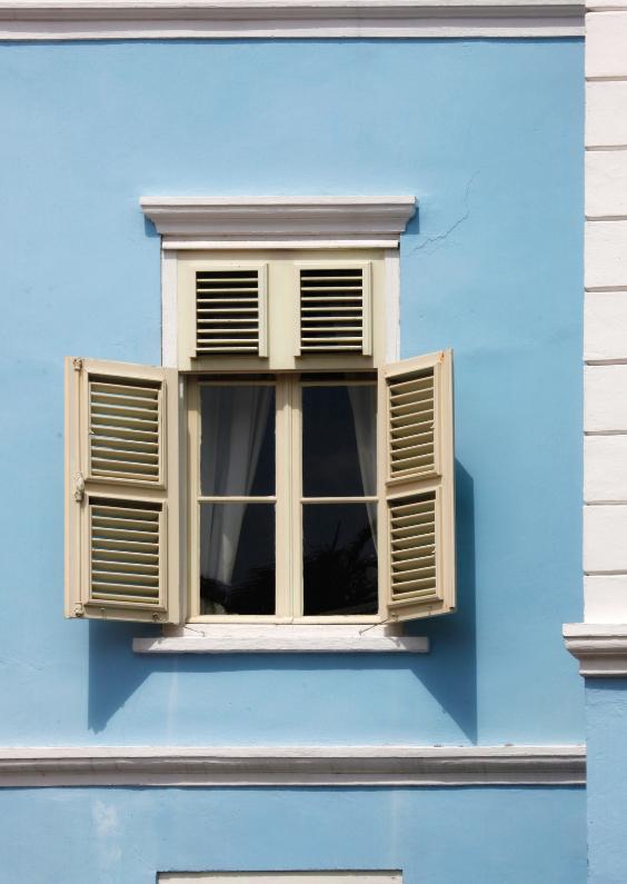 Felicitatiekaarten - Raam tafereel in blauw huis - OT
