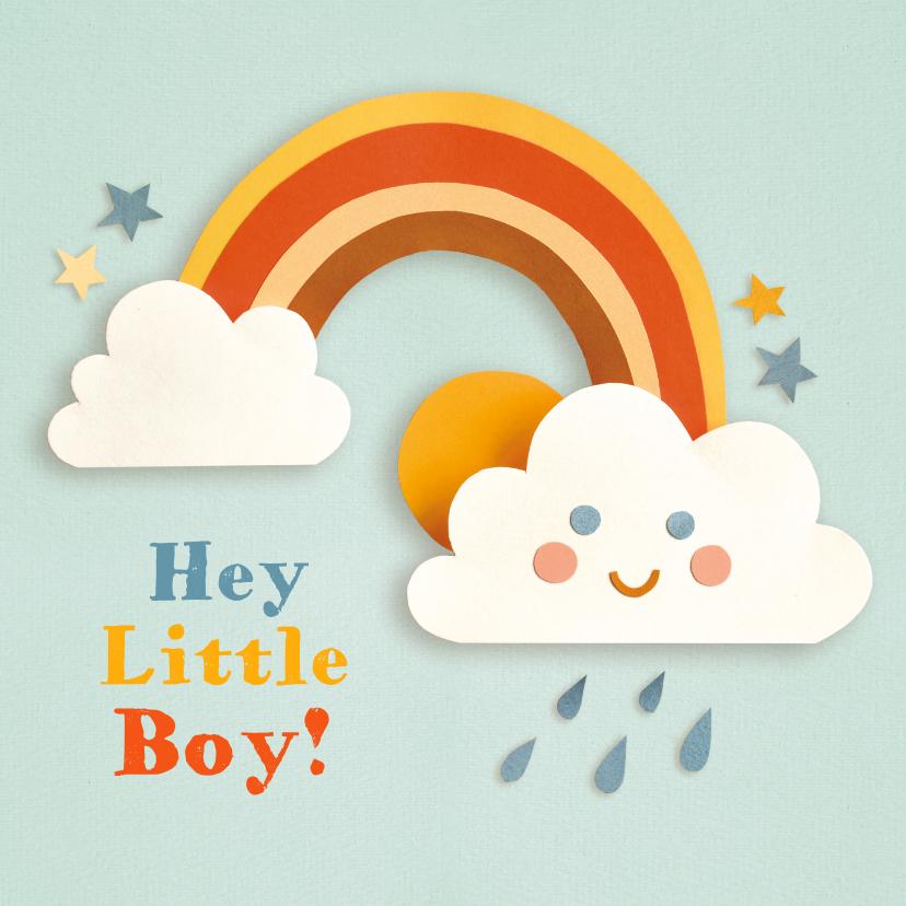 Felicitatiekaarten - Regenboog wolkje blauw