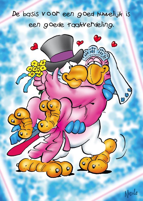 Felicitatiekaarten - rocco huwelijk 1 bruidspaar papegaaien