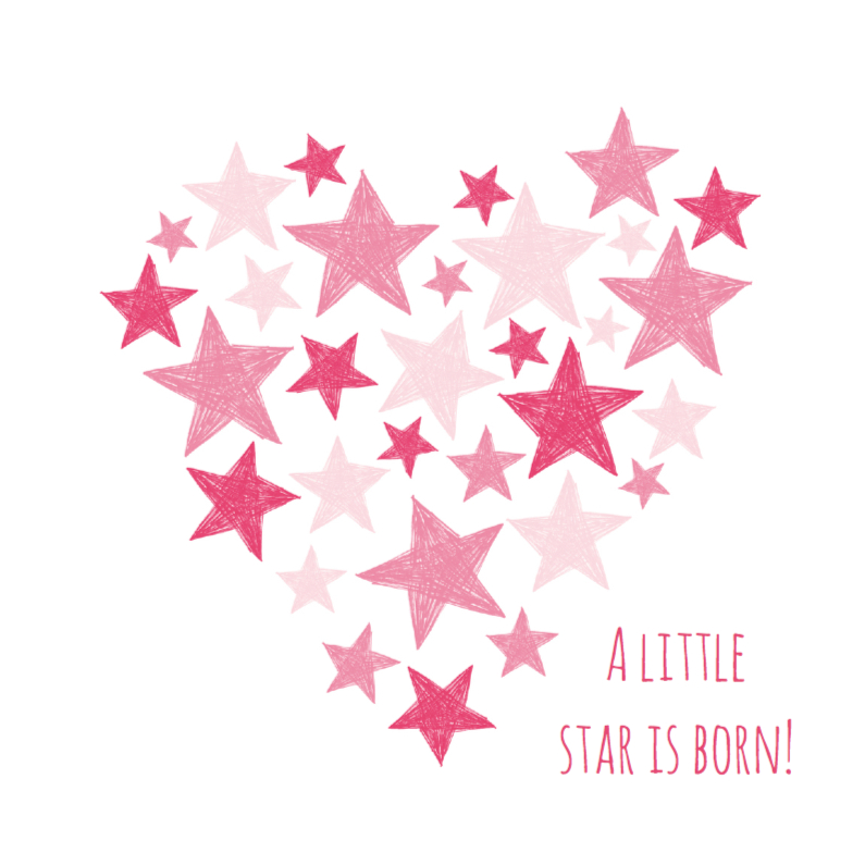 Felicitatiekaarten - Roze hart met sterren