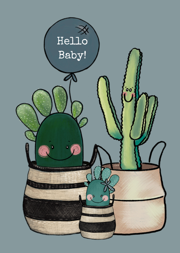Felicitatiekaarten - Schattige felicitatiekaart geboorte baby met cactussen