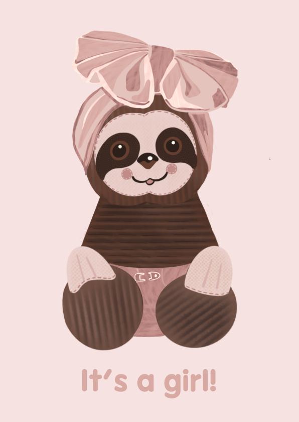 Felicitatiekaarten - Schattige felicitatiekaart geboorte meisje luiaard-knuffel