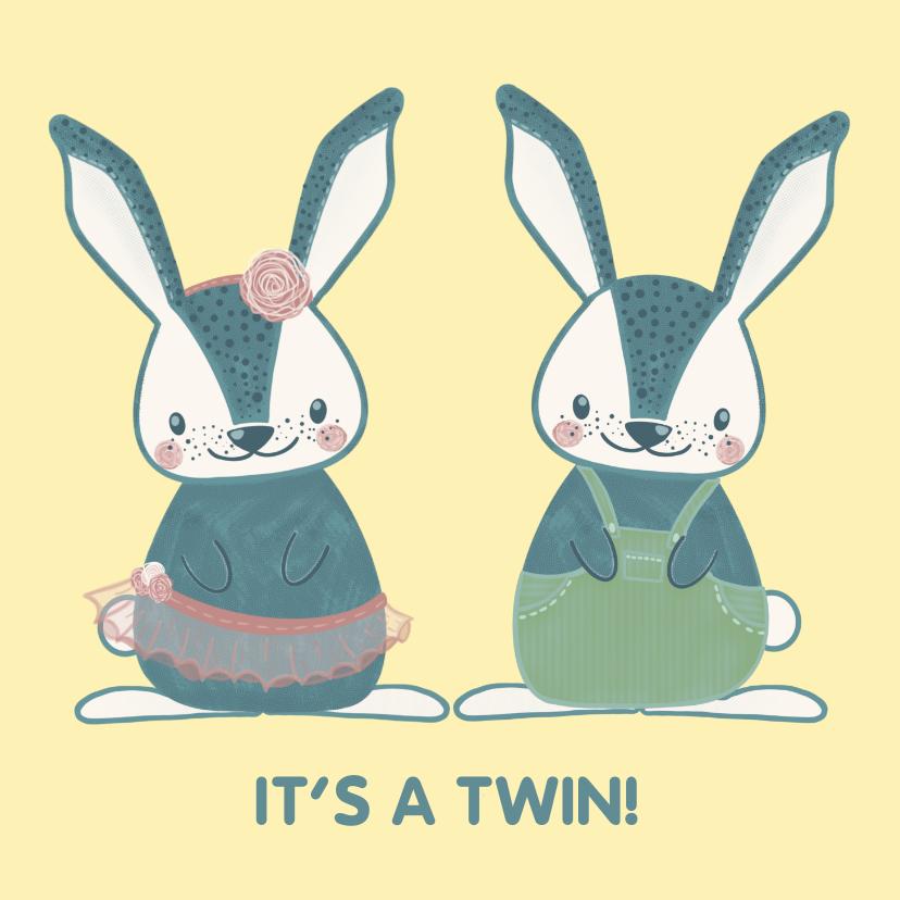 Felicitatiekaarten - Schattige felicitatiekaart geboorte tweeling meisje & jongen