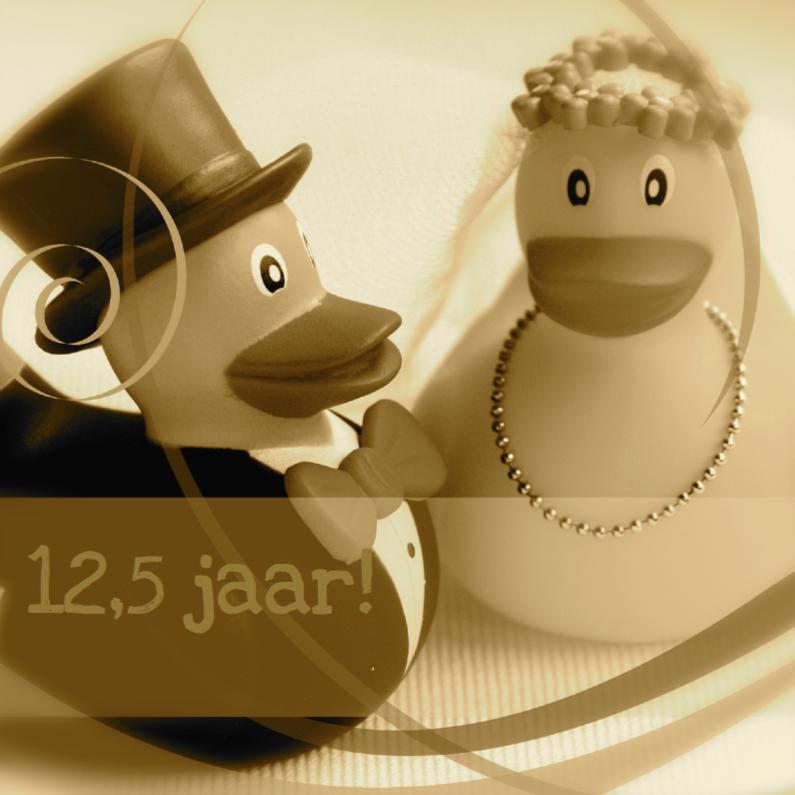 Felicitatiekaarten - Sepia bruidspaar-eendjes jubileumkaart