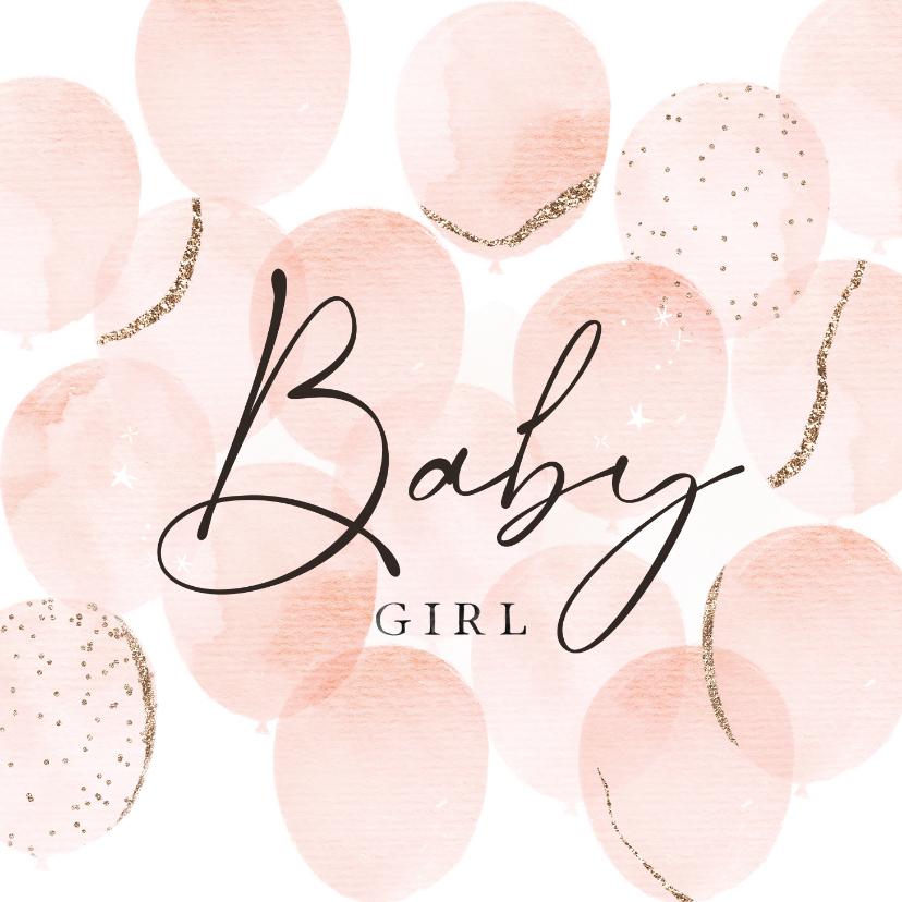 Felicitatiekaarten - Stijlvolle felicitatiekaart geboorte met waterverf ballonnen