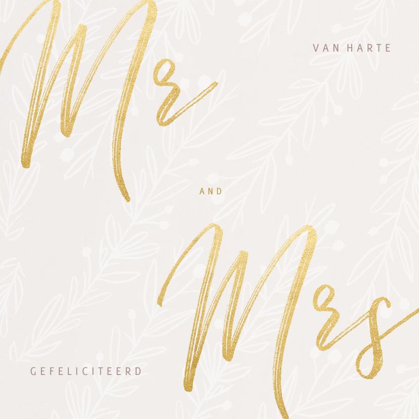 Felicitatiekaarten - Stijlvolle felicitatiekaart huwelijk MR and MRS in goudlook