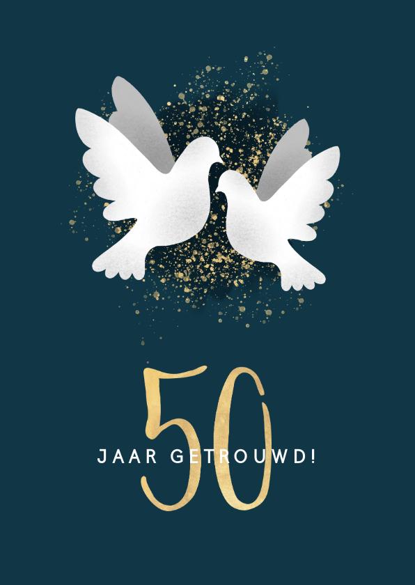 Felicitatiekaarten - Stijlvolle felicitatiekaart jubileum '50'  met duifjes