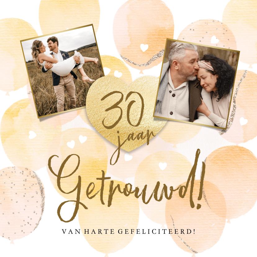 Felicitatiekaarten - Stijlvolle felicitatiekaart jubileum met ballonnen en hart