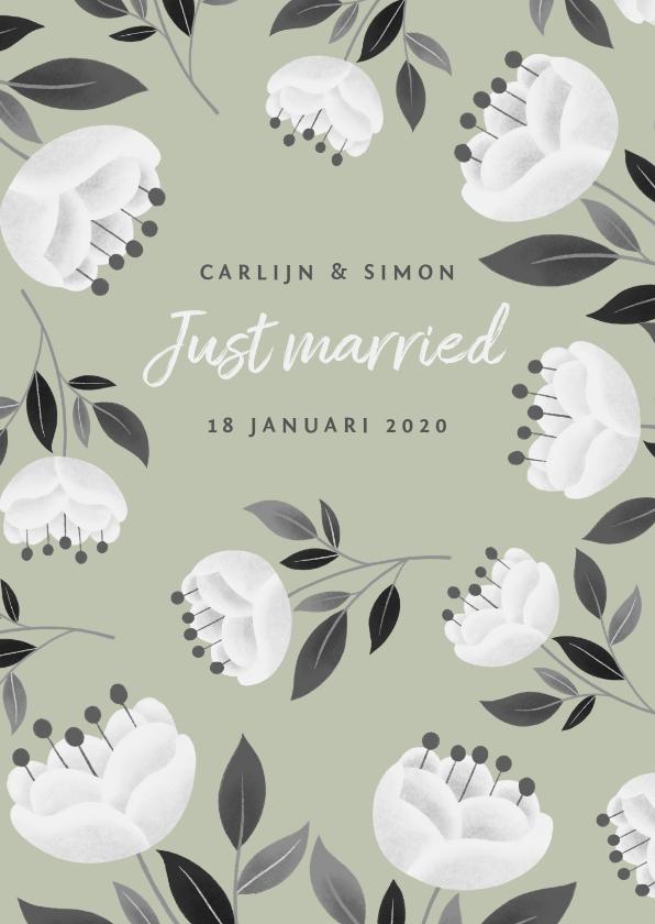 Felicitatiekaarten - Stijlvolle felicitatiekaart voor huwelijk met witte bloemen