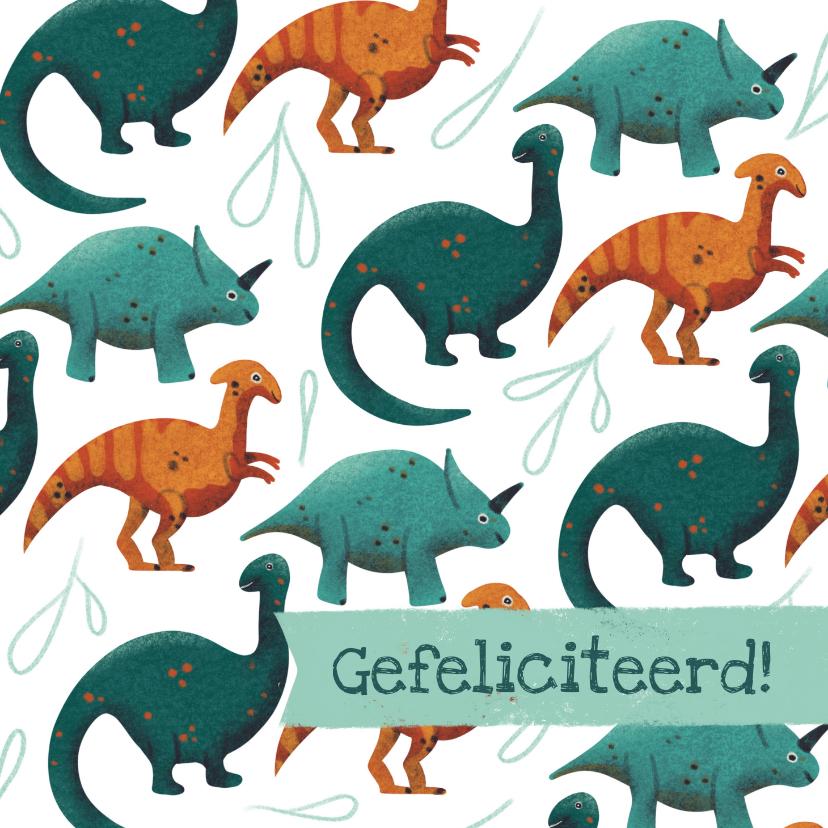 Felicitatiekaarten - Stoere felicitatiekaart met dino patroon