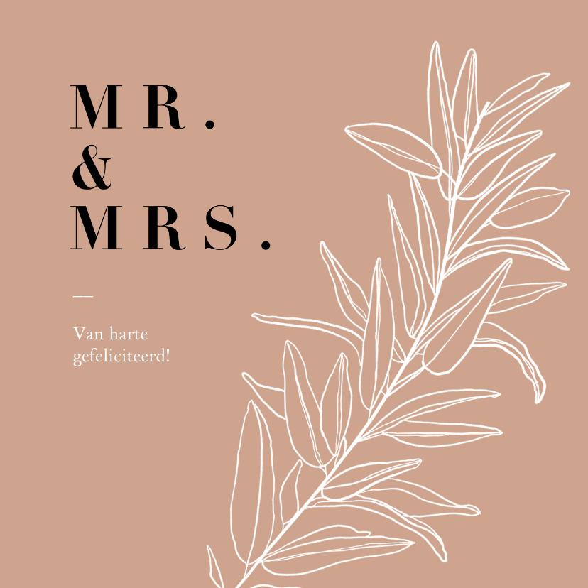 Felicitatiekaarten - Trendy terracotta felicitatiekaart huwelijk met takje
