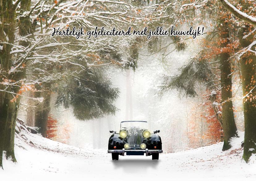 Felicitatiekaarten - Trouwen  zwarte oldtimer -sneeuw-