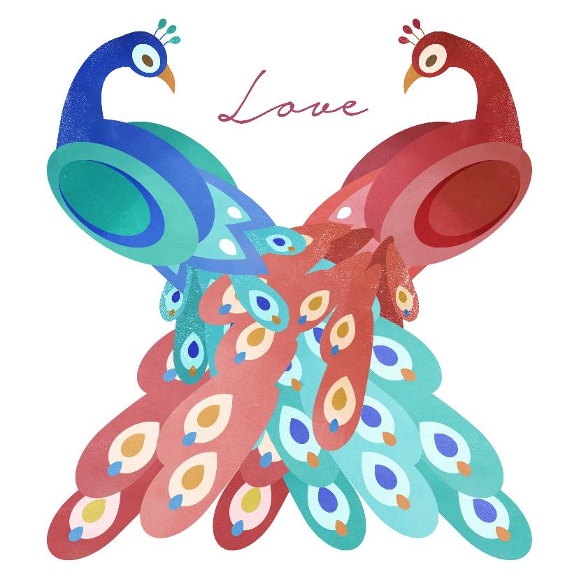 Felicitatiekaarten - Twee verliefde pauwen