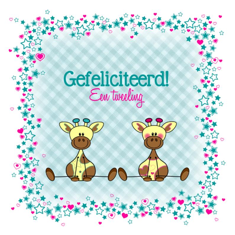 Felicitatiekaarten - Tweeling jongen en meisje Giraffe