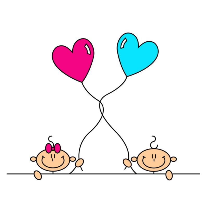 Felicitatiekaarten - Tweeling jongen en meisje