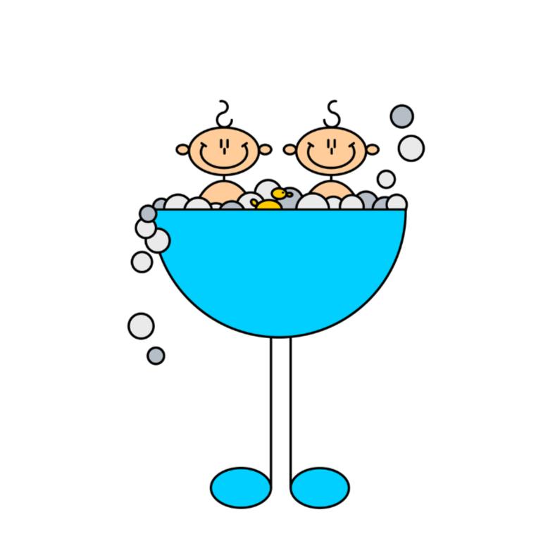 Felicitatiekaarten - Tweeling jongens in badje