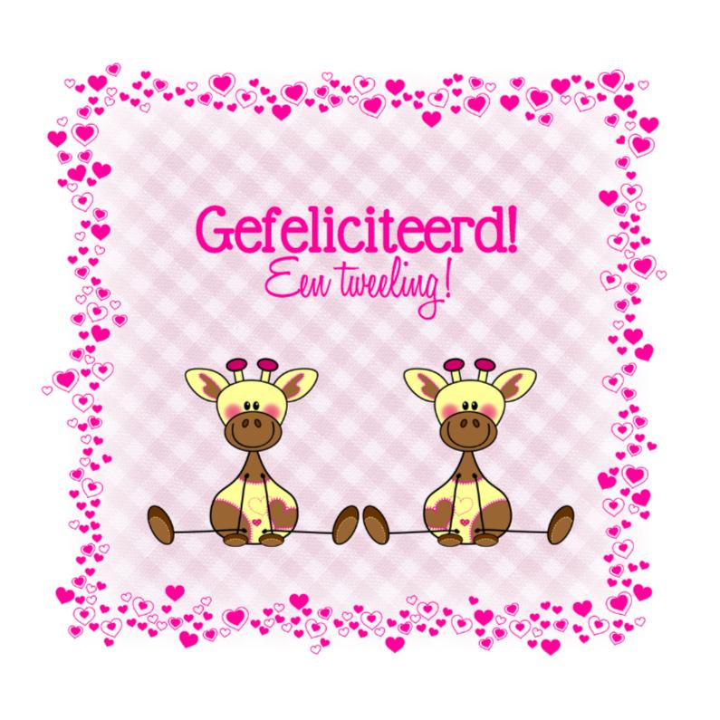 Felicitatiekaarten - Tweeling meisjes Lieve GIRAFFES