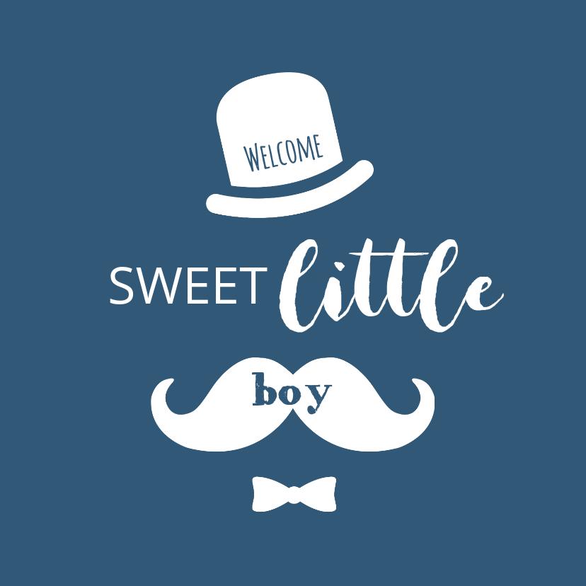 Felicitatiekaarten - Typografisch met snor, hoed en strikje