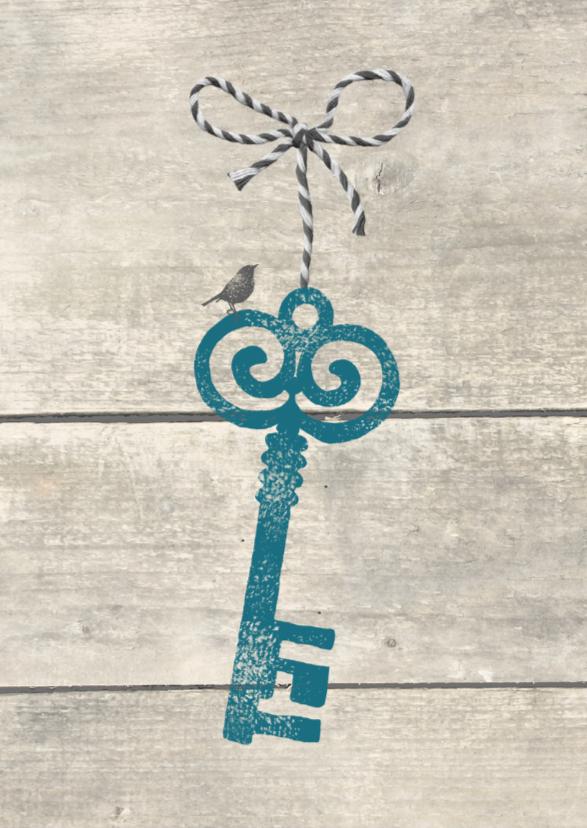 Felicitatiekaarten - Verhuiskaart Sleutel met strikje