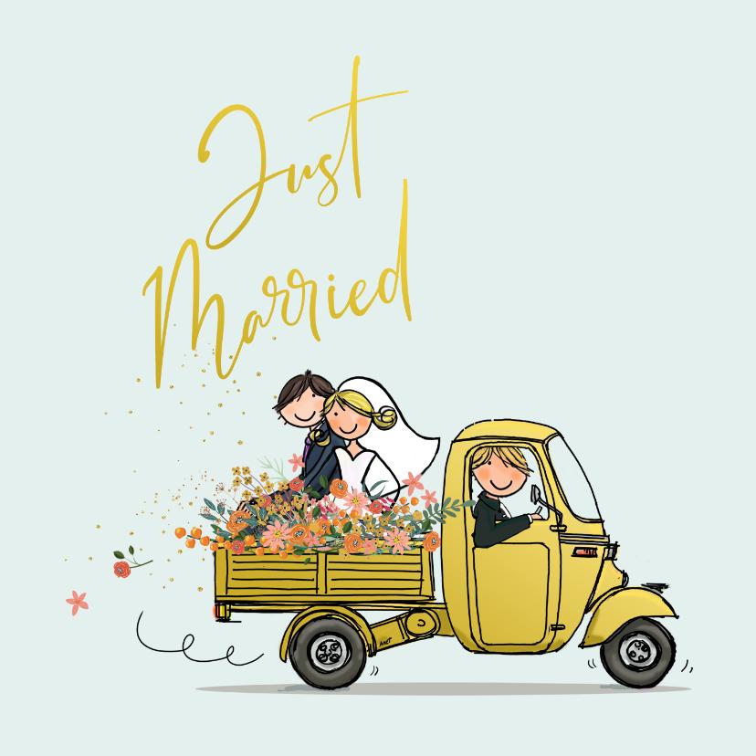 Felicitatiekaarten - Vespa Ape met trouwpaar Anet Illustratie