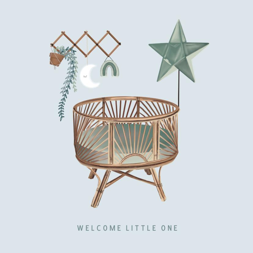 Felicitatiekaarten - Vintage felicitatiekaartje geboorte met wieg en wandrekje