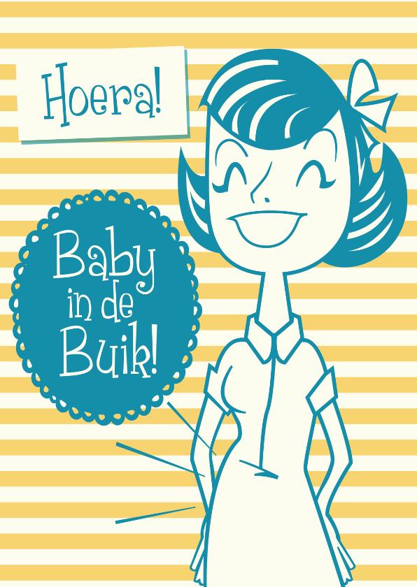 Felicitatiekaarten - Vintage Hoera Baby in de Buik