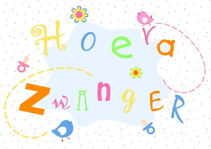 Felicitatiekaarten - Vrolijk Hoera Zwanger