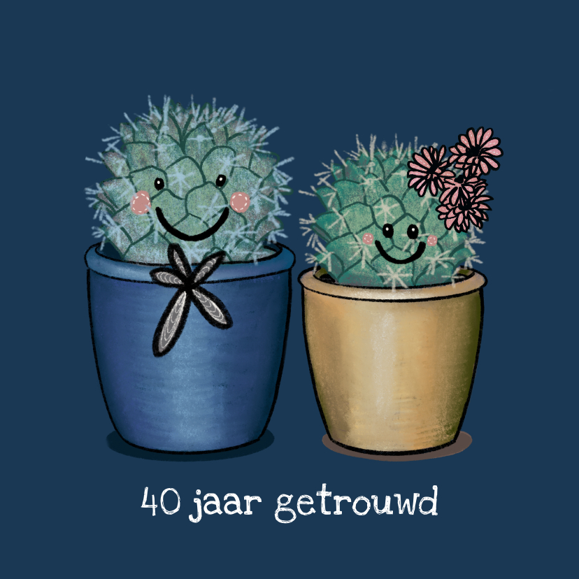 Felicitatiekaarten - Vrolijke felicitatiekaart huwelijksjubileum met cactussen