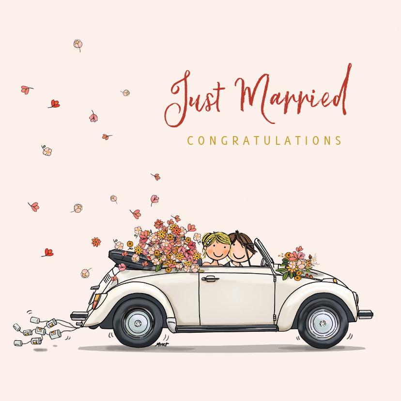 Felicitatiekaarten - VW Kever met bruidspaar